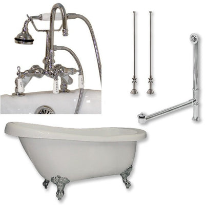"Cambridge Plumbing Acrylic Slipper Bathtub 67"" X 28"" with 7"" Deck Mount Faucet Drillings and Complete Plumbing Package - Affordable Cheap Freestanding Clawfoot Bathtubs Tub"