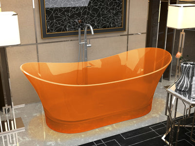 ANZZI Azul Series 5.8 ft. Man-Made Stone Center Drain Freestanding Bathtub