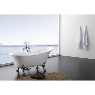 "A & E Bath and Shower Dorya Acrylic 69"" All-in-One Clawfoot Tub Kit Freestanding Clawfoot Bathtubs Tub Left Side View"