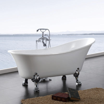 "A & E Bath and Shower Dorya Acrylic 69"" Premium All-in-One Clawfoot Freestanding Tub Kit"
