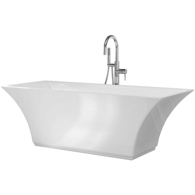"A & E Bath and Shower Abzu Acrylic 67"" Freestanding Tub Kit Frontview White Background Front View White Background"