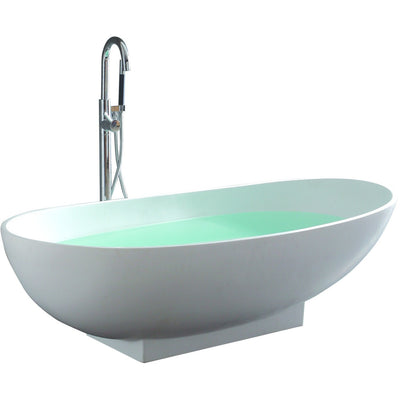 "Control Brand True Solid Surface Soaking Tub - ""Grace"" - Affordable Cheap Freestanding Clawfoot Bathtubs Tub"