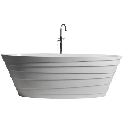 "Control Brand True Solid Surface Soaking Tub - ""Wave"" - Affordable Cheap Freestanding Clawfoot Bathtubs Tub"