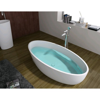 "Control Brand True Solid Surface Soaking Tub - ""Zen"" - Affordable Cheap Freestanding Clawfoot Bathtubs Tub"