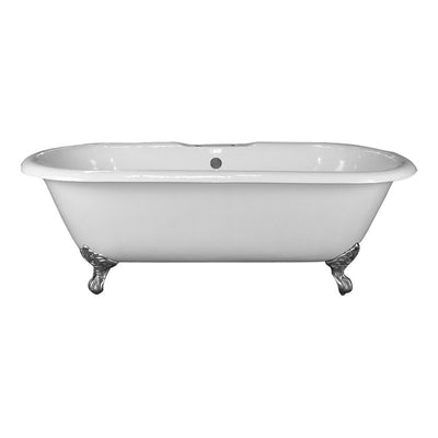 Barclay Products Duet Cast Iron Double Roll Top Freestanding Clawfoot Bathtubs Front View White Background