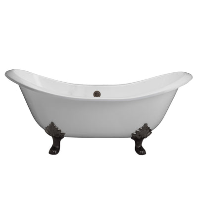 Barclay Products Marshall Cast Iron Double Slipper Freestanding Clawfoot Bathtubs Front View White Background