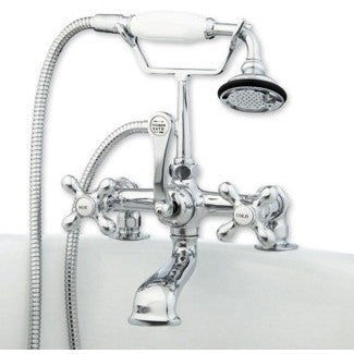 Cambridge Plumbing Clawfoot Tub Deck Mount Brass Faucet with Hand Held Shower - Affordable Cheap Freestanding Clawfoot Bathtubs Tub