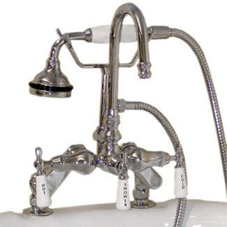 Cambridge Plumbing Clawfoot Tub Deck Mount Porcelain Lever English Telephone Brass Faucet with Hand Held Shower - Affordable Cheap Freestanding Clawfoot Bathtubs Tub
