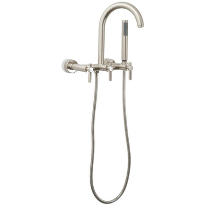 Giagni Contemporary Wall Mount Tub Faucet Freestanding Clawfoot Bathtubs Metal Lever Polished Chrome Front View White Background