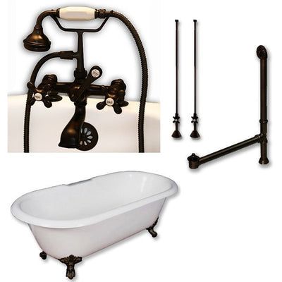 "Cambridge Plumbing Cast Iron Double Ended Clawfoot Tub 67"" X 30"" 7"" Deck Mount Faucet Drillings and Complete Plumbing Package - Affordable Cheap Freestanding Clawfoot Bathtubs Tub"
