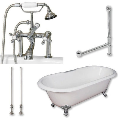 "Cambridge Plumbing Cast Iron Double Ended Clawfoot Tub 67"" by 30"" with 7"" Deck Mount Faucet Drillings and Plumbing Package With Deck Mount Risers - Affordable Cheap Freestanding Clawfoot Bathtubs Tub"