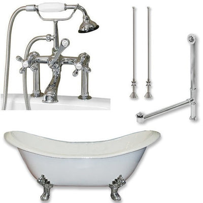 "Cambridge Plumbing DES-463D-6-PKG Cast Iron Double Ended Slipper Tub 71"" by 30"" with 7"" Deck Mount Faucet Drillings and Faucet Complete Package - Affordable Cheap Freestanding Clawfoot Bathtubs Tub"