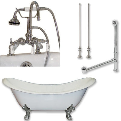 "Cambridge Plumbing DES-684D-PKG Cast Iron Double Ended Slipper Tub 71"" X 30"" with 7"" Deck Mount Faucet Drillings and Faucet Complete Plumbing Package - Affordable Cheap Freestanding Clawfoot Bathtubs Tub"
