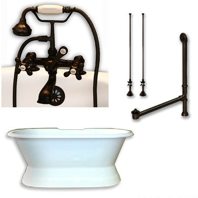 "Cambridge Plumbing DES-PED-463D-2-PKG Cast Iron Double Ended Slipper Tub 71"" X 30"" with 7"" Deck Mount Faucet Drillings and Complete Plumbing Package - Affordable Cheap Freestanding Clawfoot Bathtubs Tub"