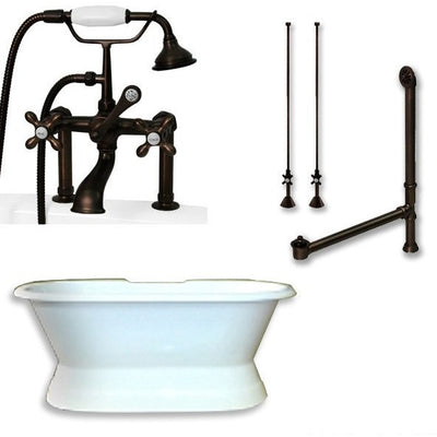 "Cambridge Plumbing DES-PED-463D-6-PKG Cast Iron Double Ended Slipper Tub 71""X 30"" with 7"" Drillings and Faucet - Plumbing Package - Deck Mount Risers - Affordable Cheap Freestanding Clawfoot Bathtubs Tub"