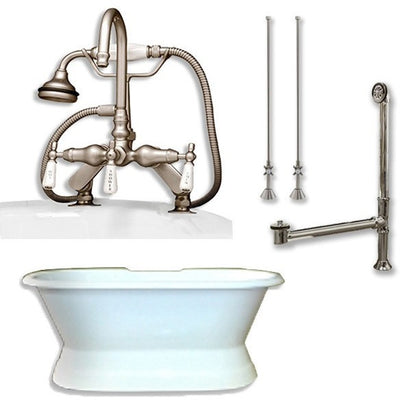 "Cambridge Plumbing DES-PED-684D-PKG Cast Iron Double Ended Slipper Tub 71"" X 30"" with 7"" Deck Mount Faucet Drillings and Faucet Plumbing Package - Affordable Cheap Freestanding Clawfoot Bathtubs Tub"