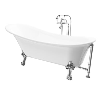 "A & E Bath and Shower Dorya Acrylic 69"" All-in-One Clawfoot Tub Kit Freestanding Clawfoot Bathtubs Tub Front View White Background"