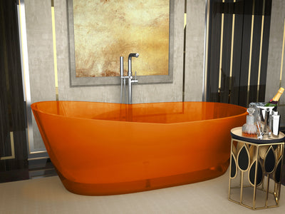 ANZZI Ember Series 5.4 ft. Man-Made Stone Center Drain Freestanding Bathtub