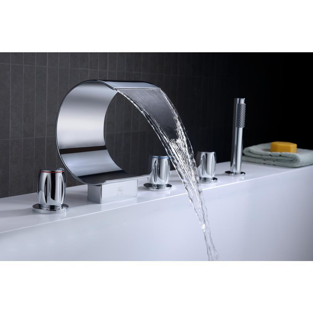 ANZZI Ribbon Series FR-AZ048CH 3-Handle Deck-Mount Roman Tub Faucet ...