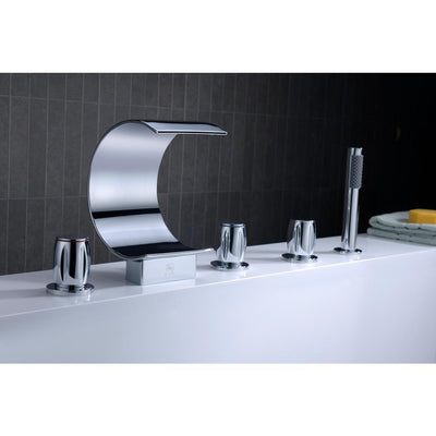 ANZZI Ribbon Series FR-AZ048CH 3-Handle Deck-Mount Roman Tub Faucet