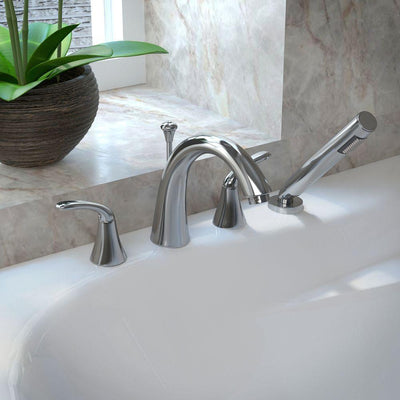 ANZZI Fawn Series FR-AZ074 2-Handle Deck-Mount Roman Tub Faucet with Handheld Sprayer in Polished Chrome