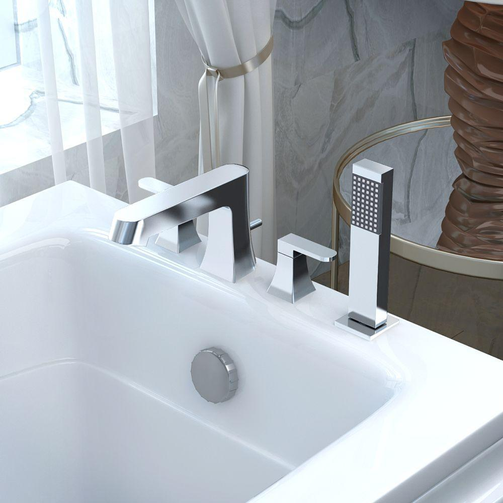 ANZZI Cove Series FR-AZ174 2-Handle Deck-Mount Roman Tub Faucet with ...