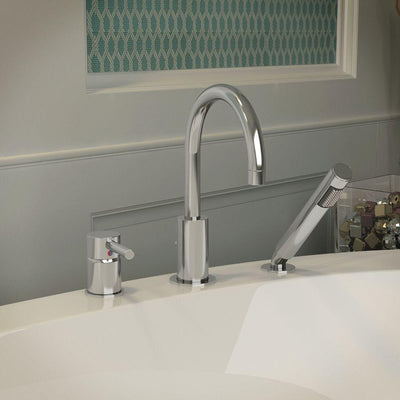 ANZZI Mist Series FR-AZ273 Single-Handle Deck-Mount Roman Tub Faucet with Handshower in Polished Chrome