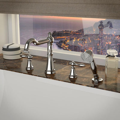 ANZZI Ahri Series FR-AZ274 2-Handle Deck-Mount Roman Tub Faucet with Handheld Sprayer in Polished Chrome