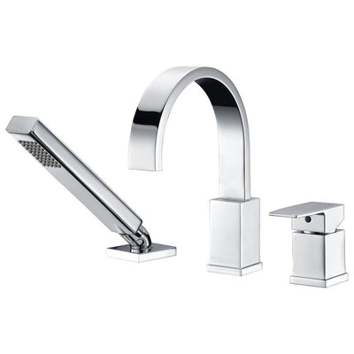 ANZZI Nite Series FR-AZ473 Single-Handle Deck-Mount Roman Tub Faucet with Handheld Sprayer in Polished Chrome