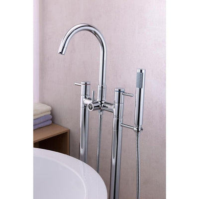 ANZZI Sol Series FS-AZ0027 3-Handle Freestanding Claw Foot Tub Faucet with Hand Shower