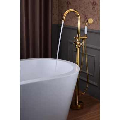 ANZZI Bridal Series FS-AZ0061RG 3-Handle Claw Foot Tub Faucet with Hand Shower in Gold