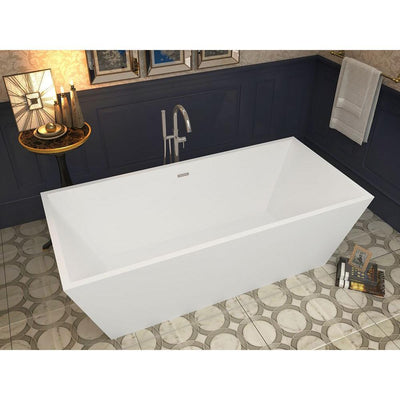 ANZZI Fjord Series FT-AZ002 5.6 ft. Acrylic Center Drain Freestanding Bathtub in Glossy White
