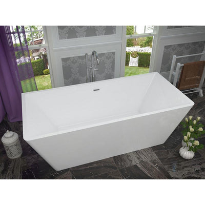 ANZZI Majanel Series FT-AZ005 5.6 ft. Acrylic Center Drain Freestanding Bathtub in Glossy White