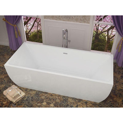ANZZI Rook Series FT-AZ007 5.6 ft. Acrylic Center Drain Freestanding Bathtub in Glossy White
