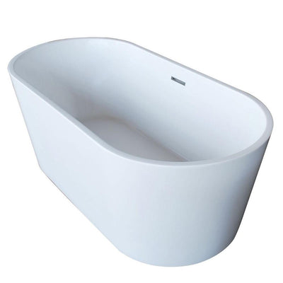 ANZZI Dover Series FT-AZ009 5.6 ft. Acrylic Center Drain Freestanding Bathtub in Glossy White