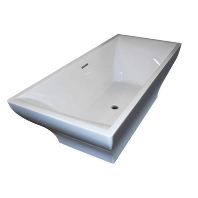 ANZZI Vision Series FT-AZ010 5.9 ft. Acrylic Center Drain Freestanding Bathtub in Glossy White