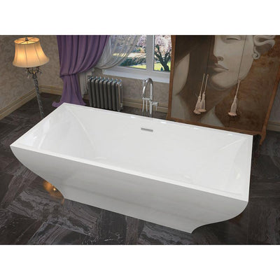 ANZZI Vision Series 5.9 ft. Acrylic Double Slipper Freestanding Flatbottom Non-Whirlpool Bathtub in White with Freestanding Faucet