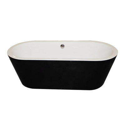 ANZZI Dualita Series Acrylic Classic Freestanding Flatbottom Non-Whirlpool Bathtub in Black with Freestanding Faucet