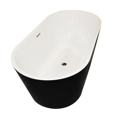 ANZZI Dualita Series Acrylic Center Drain Freestanding Bathtub in Glossy Black