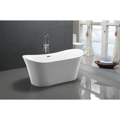 ANZZI Eft Series FT-AZ096 5.58 ft. Freestanding Bathtub in White