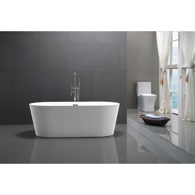 ANZZI Chand Series FT-AZ098 5.58 ft. Freestanding Bathtub in White