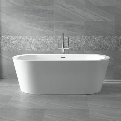ANZZI Ares Series FT-AZ104 5.5 ft. Center Drain Freestanding Bathtub in Glossy White