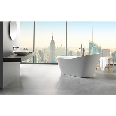 ANZZI Arges Series FT-AZ106 5.9 ft. Center Drain Freestanding Bathtub in Glossy White