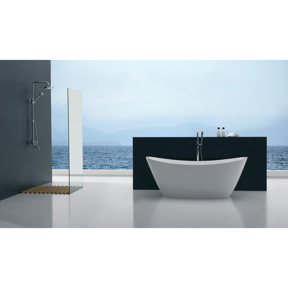 ANZZI Cross Series FT-AZ110 5.58 ft. Freestanding Bathtub in White ...