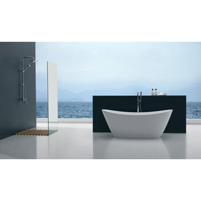ANZZI Cross Series FT-AZ110 5.58 ft. Freestanding Bathtub in White
