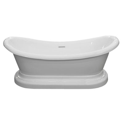 ANZZI Ruby Series FT-AZ113 5.9 ft. Acrylic Flatbottom Non-Whirlpool Bathtub in White