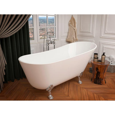 ANZZI Legion Series FT-AZ419 5.5 ft. Acrylic Clawfoot Non-Whirlpool Bathtub in White