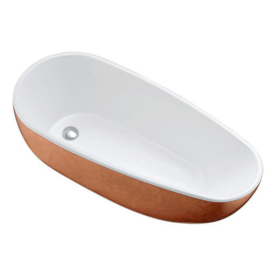 ANZZI Bishop Series FT-AZ435 5.53 ft. Freestanding Bathtub in Rose Gold