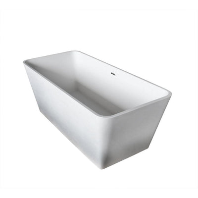 ANZZI Cenere Series FT-AZ501 4.9 ft. Man-Made Stone Center Drain Freestanding Bathtub in Matte White