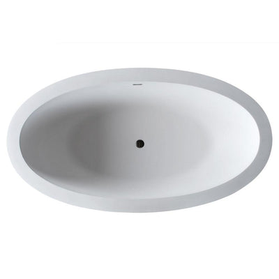 ANZZI Lusso Series 6.3 ft. Man-Made Stone Classic Freestanding Flatbottom Non-Whirlpool Bathtub in Matte White with Freestanding Faucet